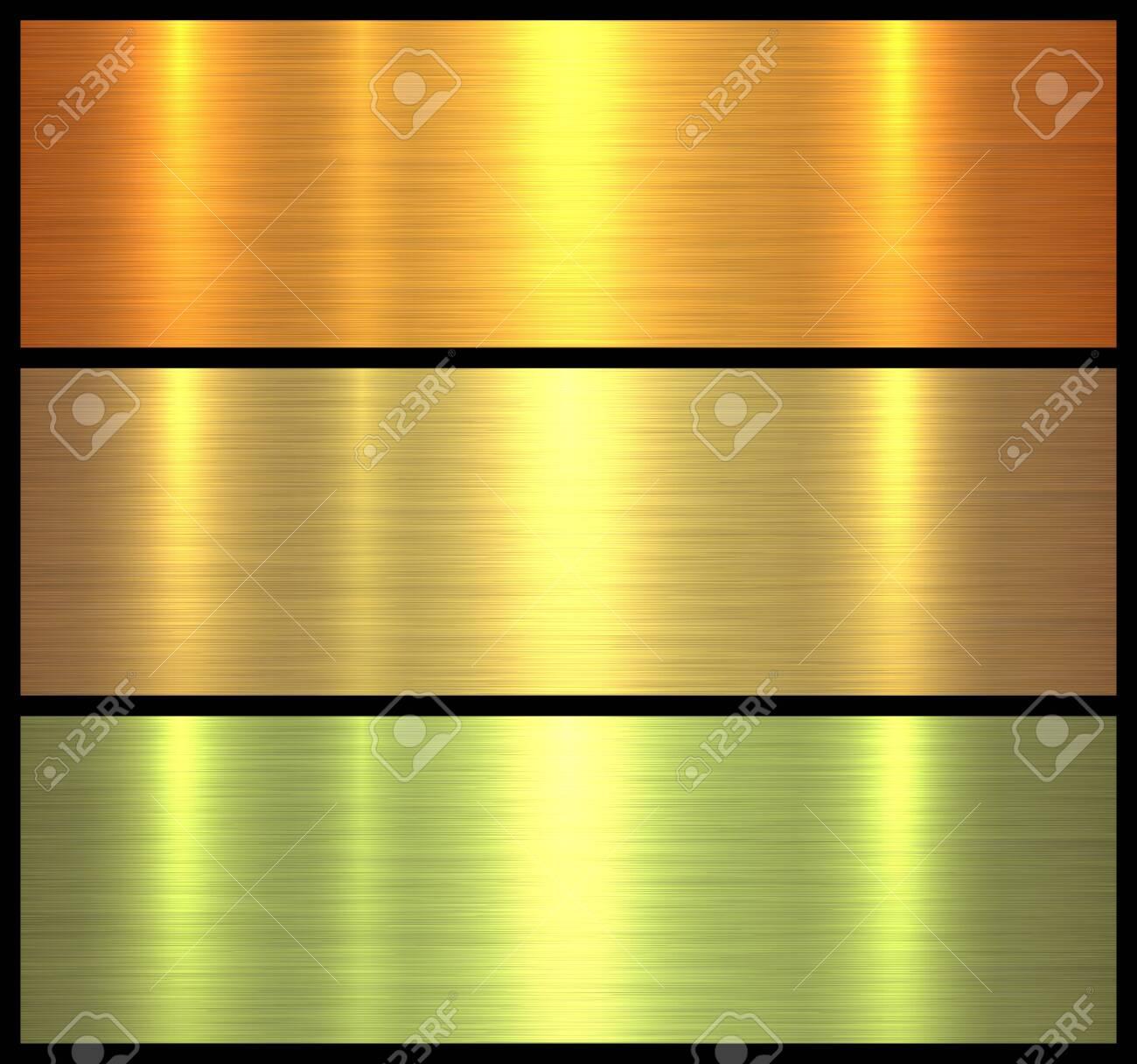 Metal textures gold brushed metallic background, vector illustration. - 120175637