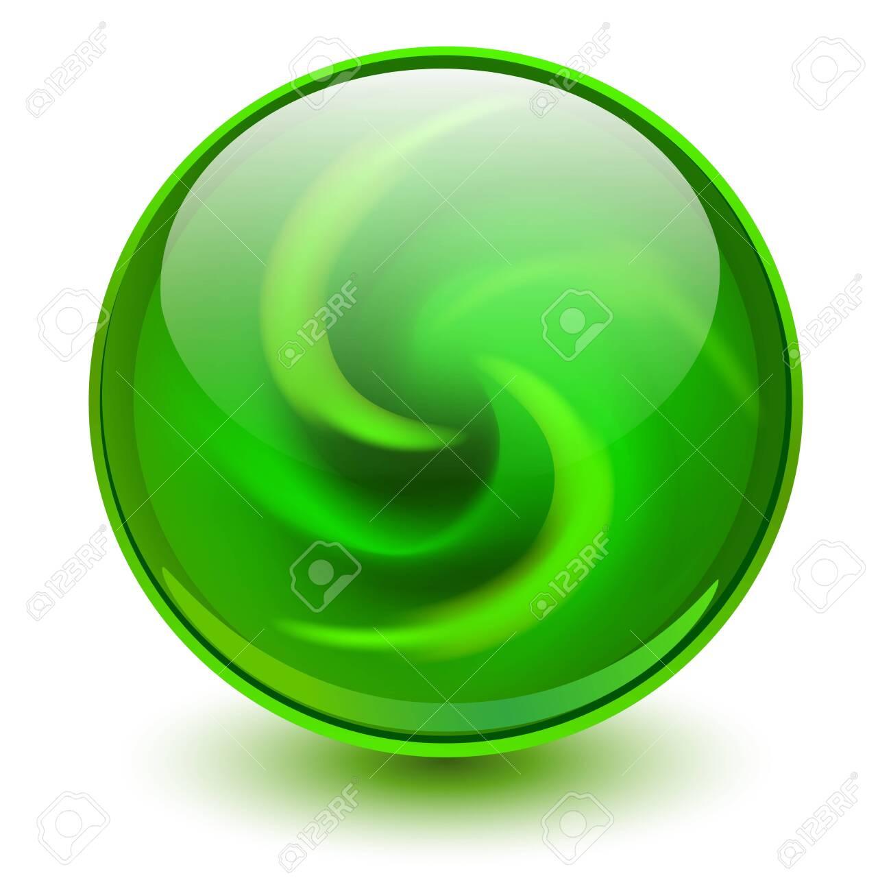 Green glass sphere, 3D marble ball, vector illustration. - 129944249