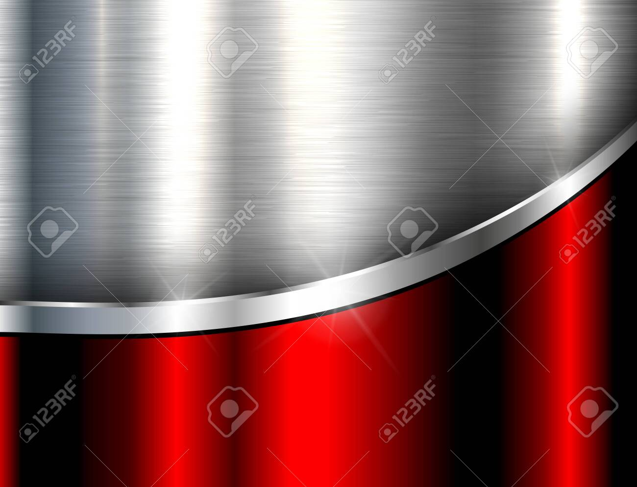 Metallic background silver red, polished steel texture, vector design. - 129905945