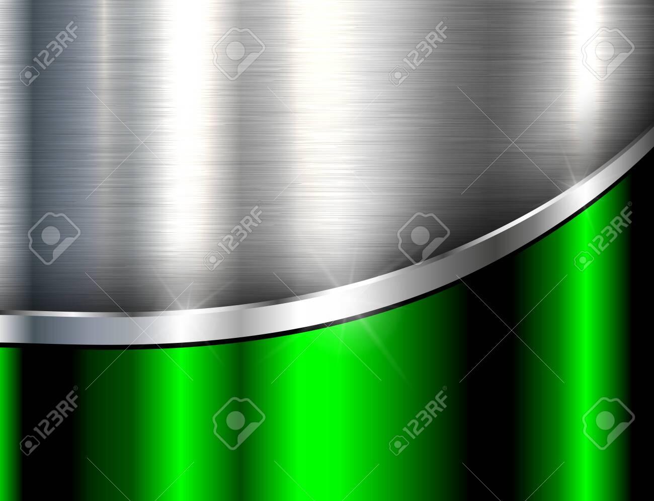 Metallic background silver green, polished steel texture, vector design. - 129940816