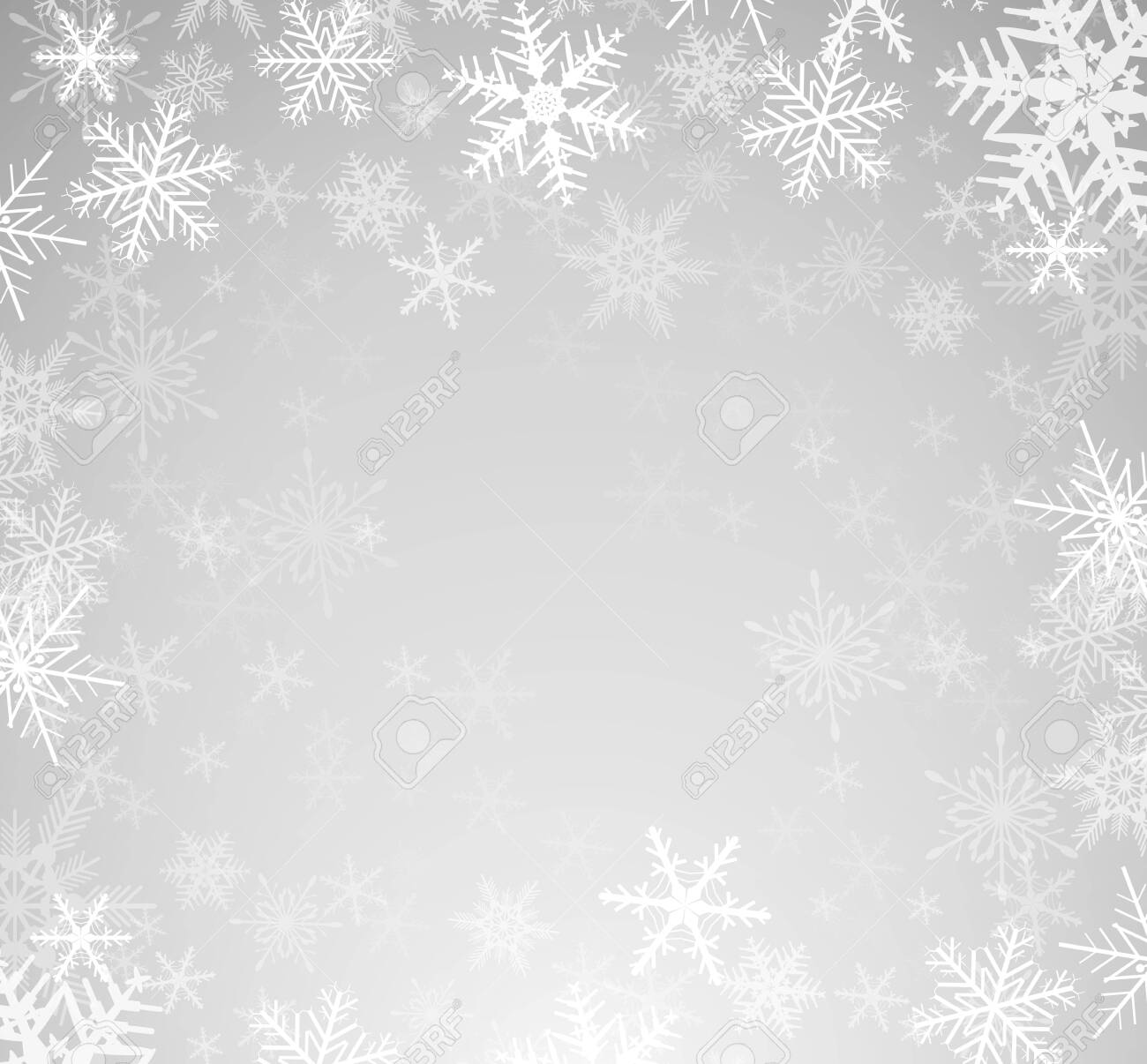 Christmas winter background with snowflakes, vector illustration. - 133053135