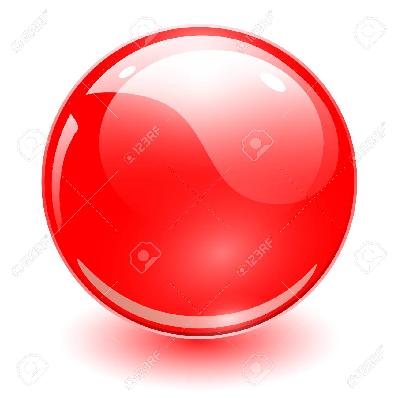 Glass sphere red, vector shiny ball. - 140241015