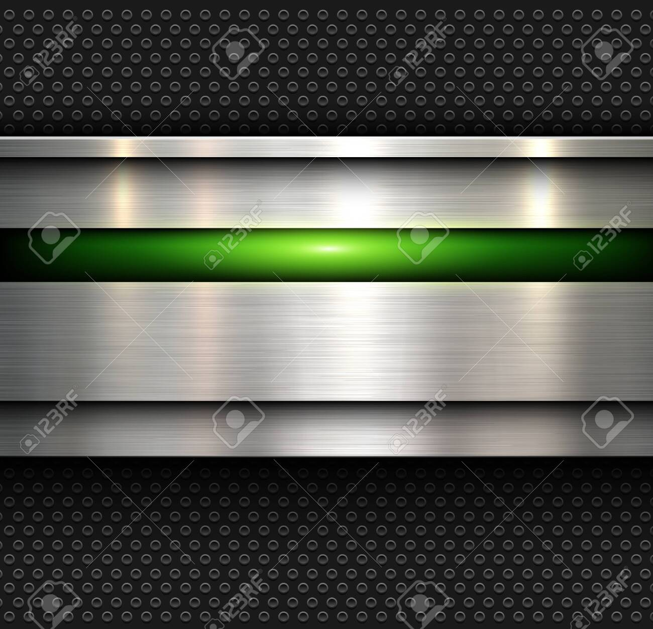 Background, polished metal texture with holes pattern textured backdrop, vector illustration. - 140878960