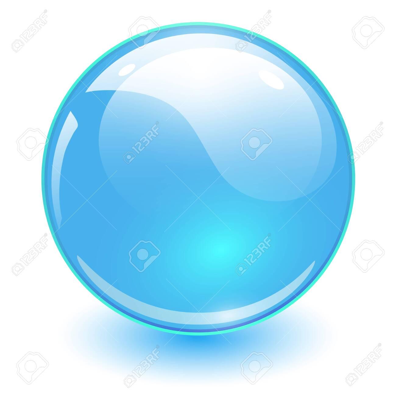 Glass sphere blue, vector shiny ball. - 141195820