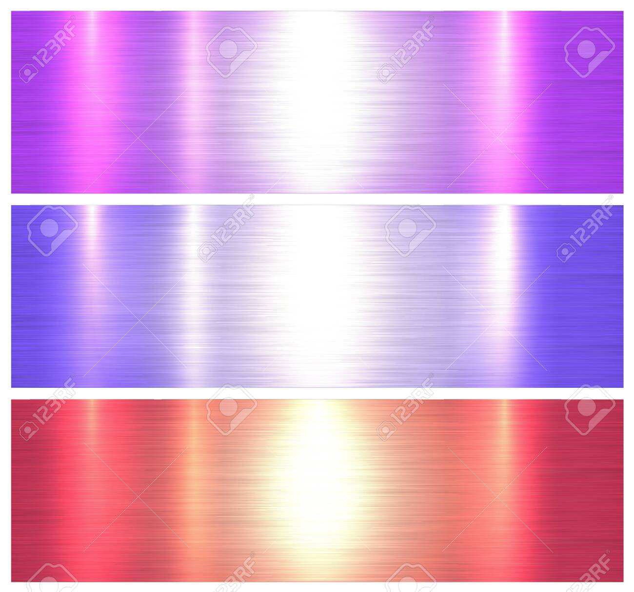 Metallic textures, colorful brushed metal backgrounds, vector illustration. - 150221358