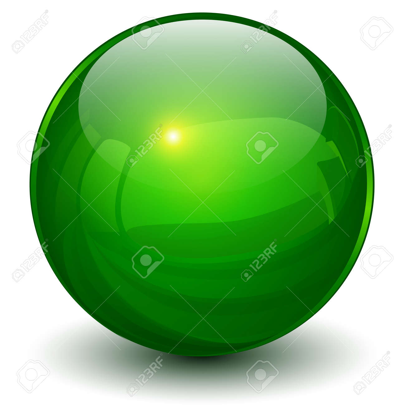 Glass sphere green, 3D ball icon shiny vector illustration. - 166116755