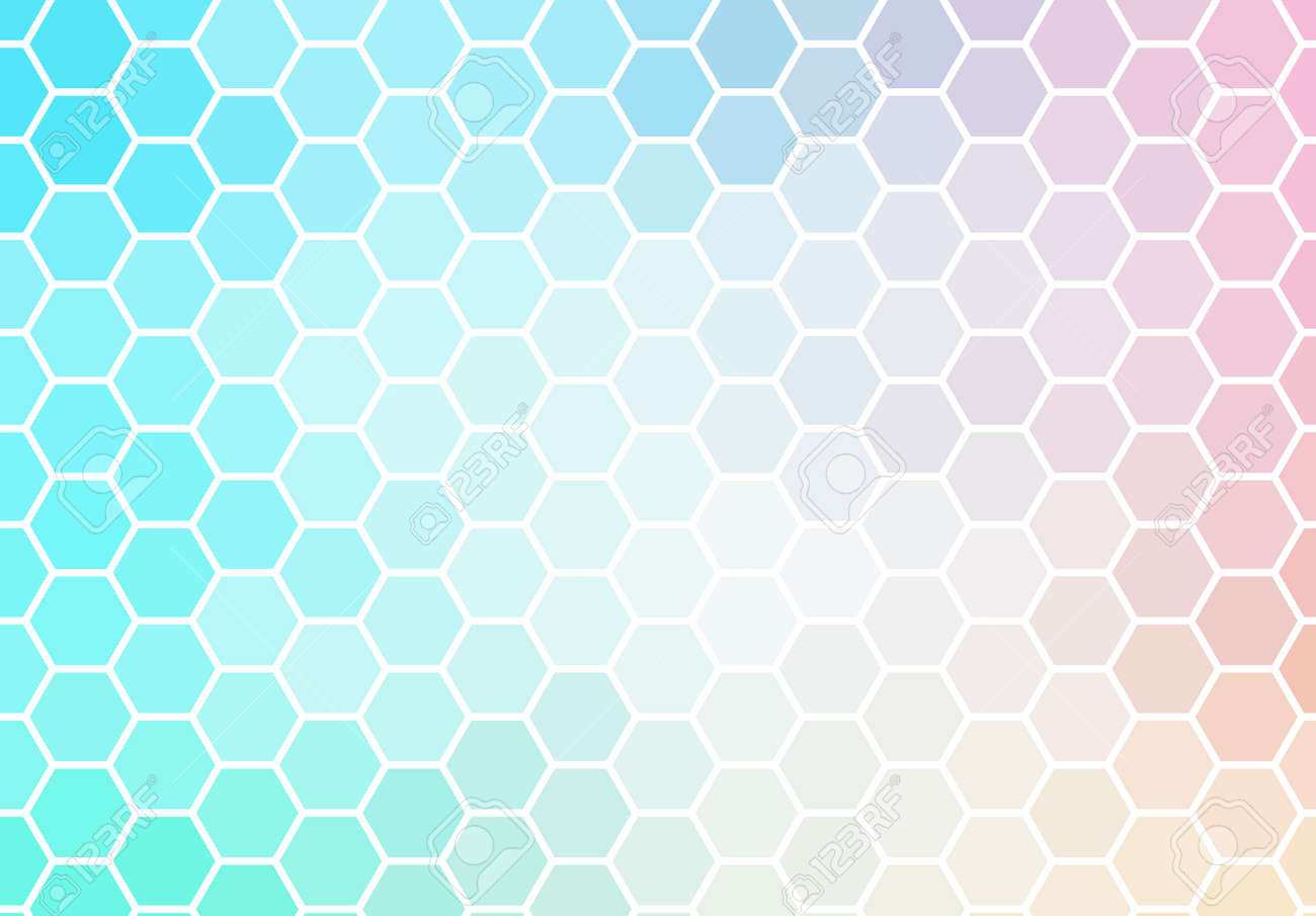 Hexagon mosaic background, abstract green and pink honeycomb icy vector design. - 166558911