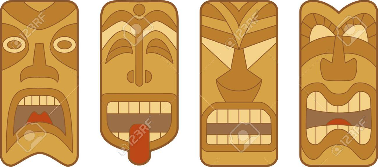 four funny hawaiian tiki masks on white background royalty free