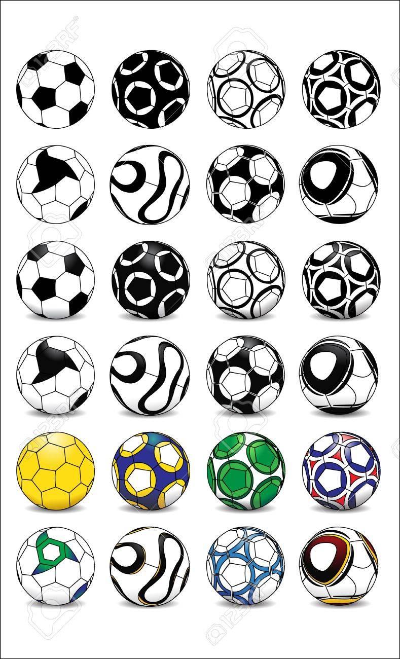 Diferentes Diseños De Pelotas De Fútbol En Blanco Y Negro A La