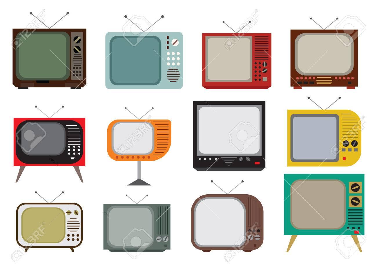 Vector illustration of the vintage TV set - 40442619