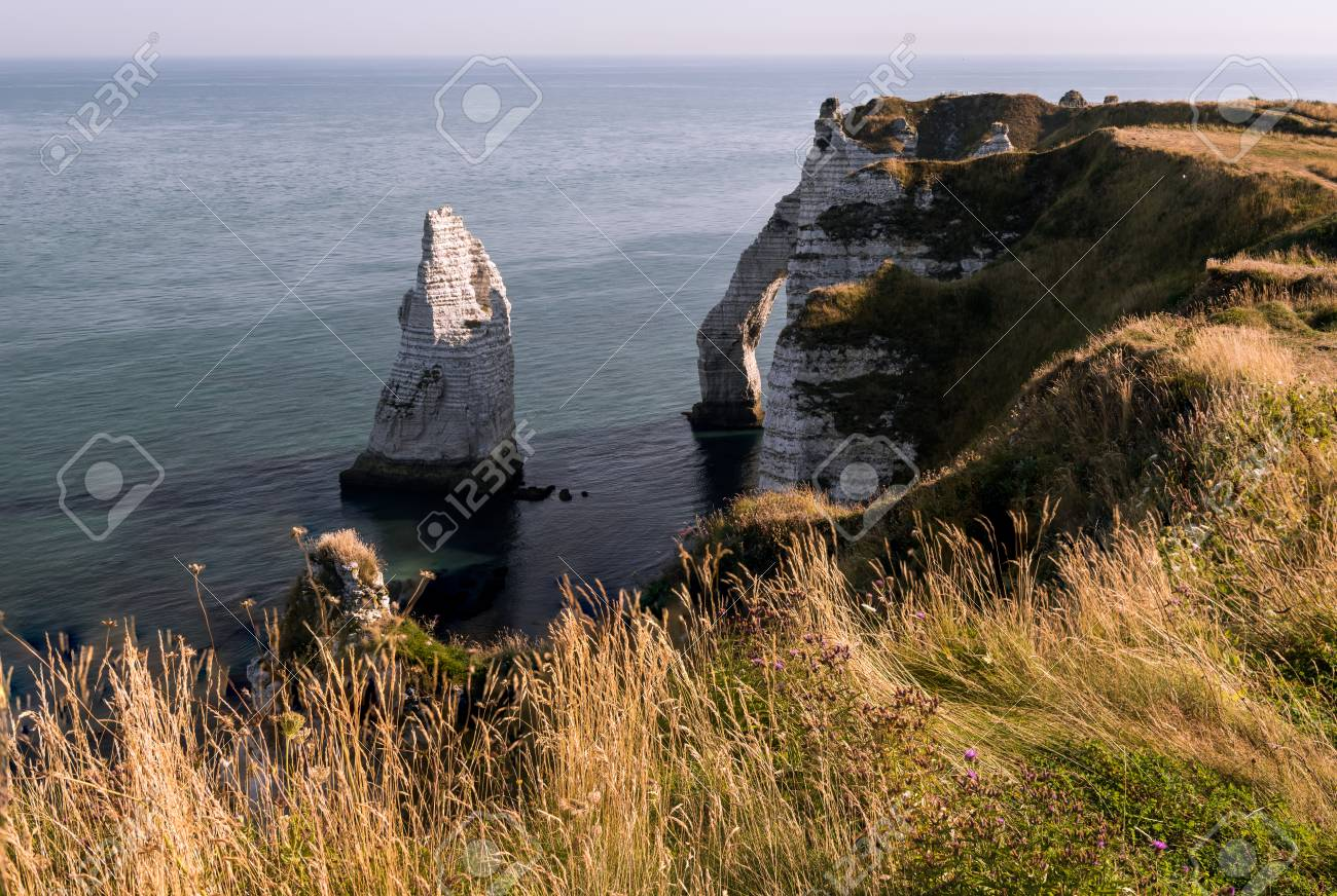 Chalk Cliffs Of Etretat Normandy France With The Natural Arch