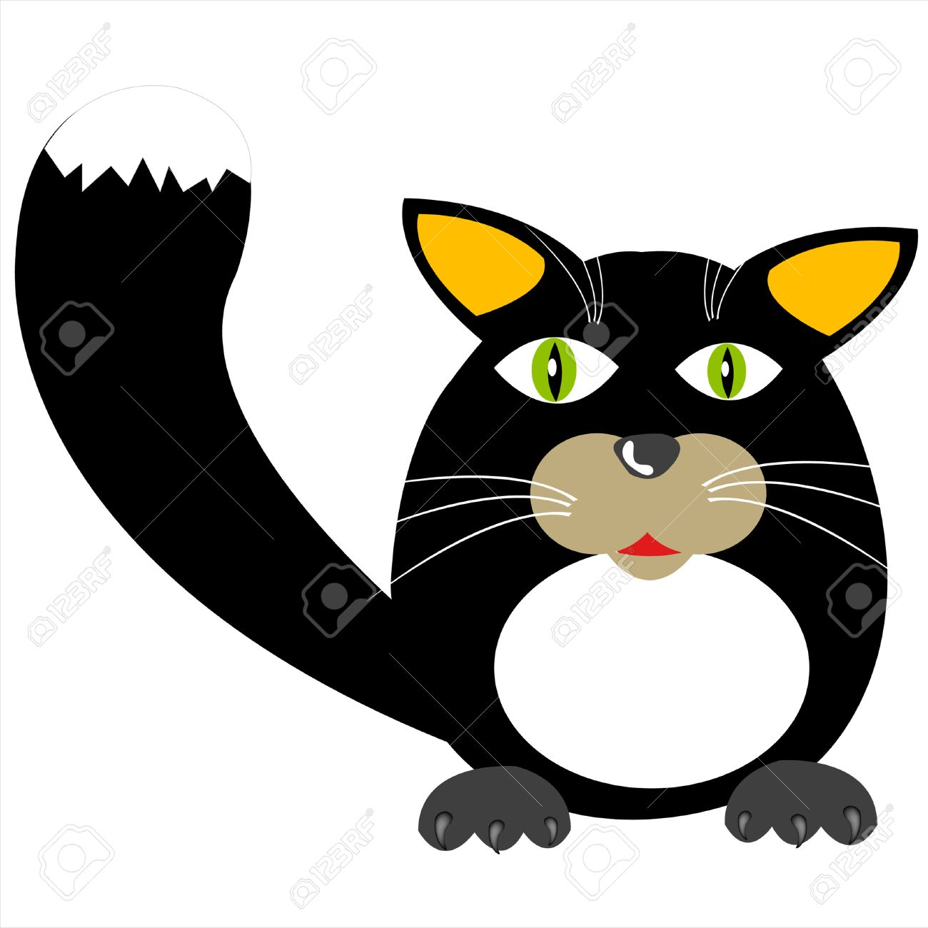 Drawing of the black cat on white background Stock Vector - 8568329