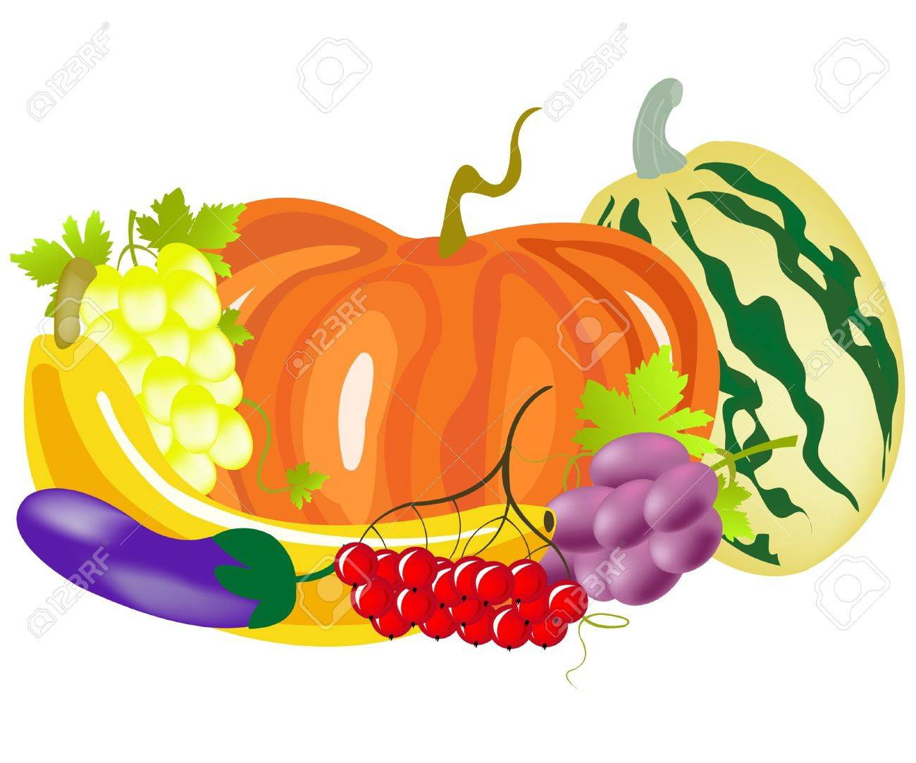 Fruits and vegetables on white background Stock Vector - 9184088