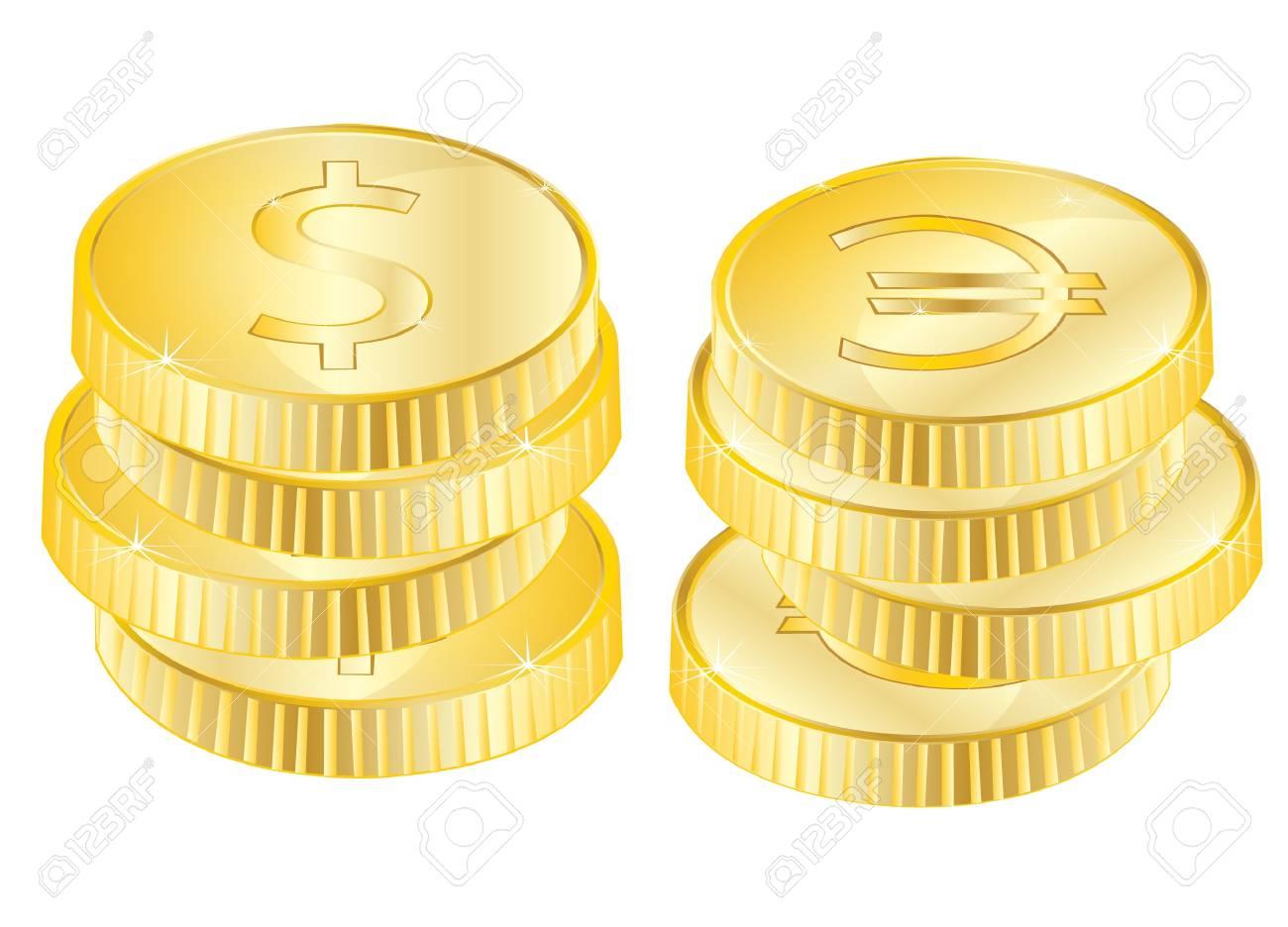 Viel Münzen Aus Vergolden Auf Weißem Hintergrund Lizenzfrei Nutzbare