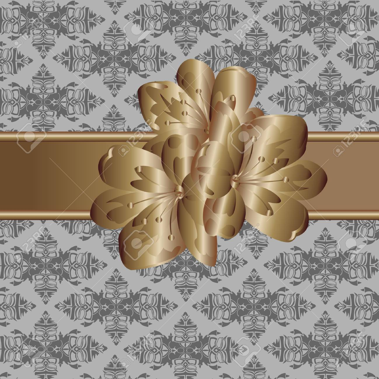 Decorative Wallpaper And Metallic Flower Royalty Free Cliparts