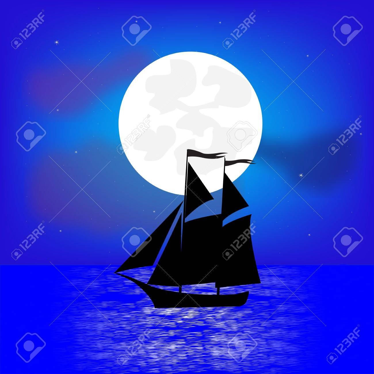 Sailing ship in the night seaborne Stock Vector - 15882694
