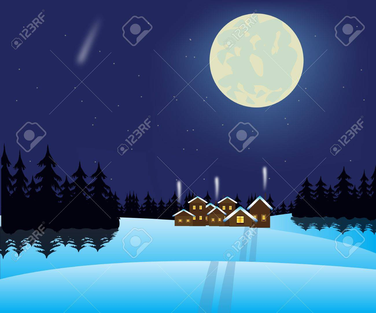Illustration to moon night and small village in wood Stock Vector - 16358371