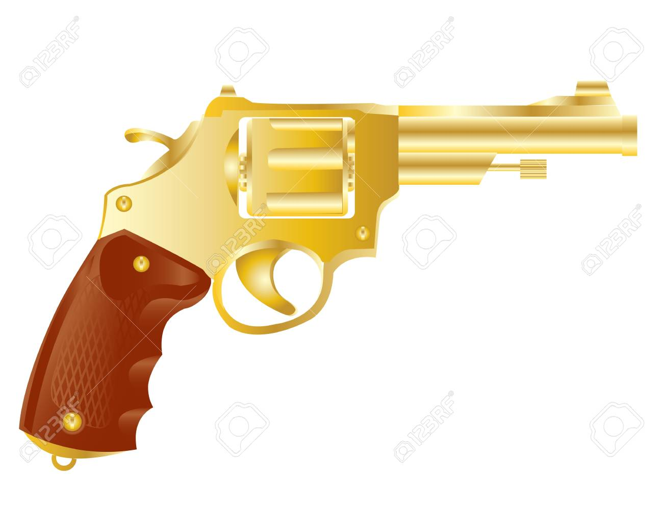 Illustration of the weapon revolver from gild on white background. Stock Vector - 17513267