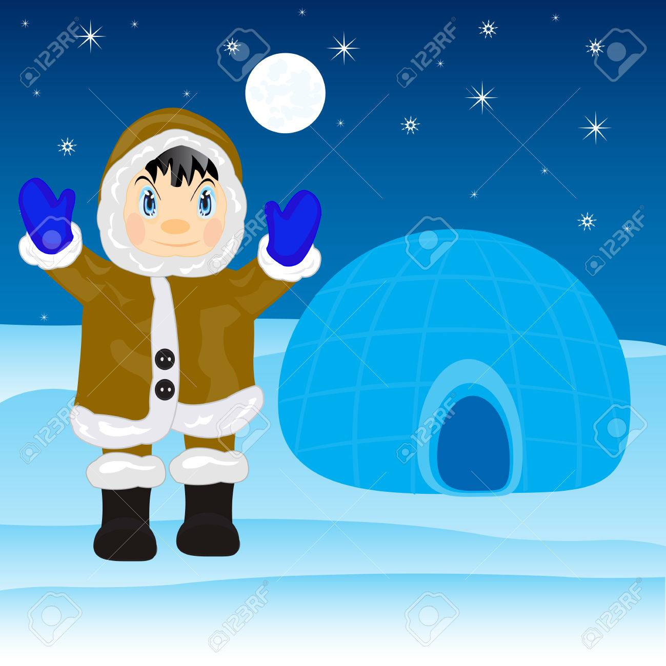 Illustration of the eskimo near by igloo on north Stock Vector - 26108564