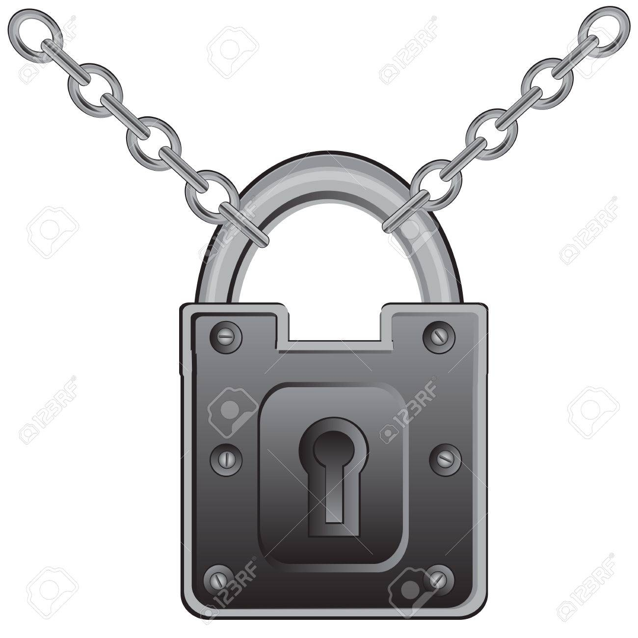 Door Lock Chain Big Door Lock On Chain From Metal Royalty Free Cliparts Vectors