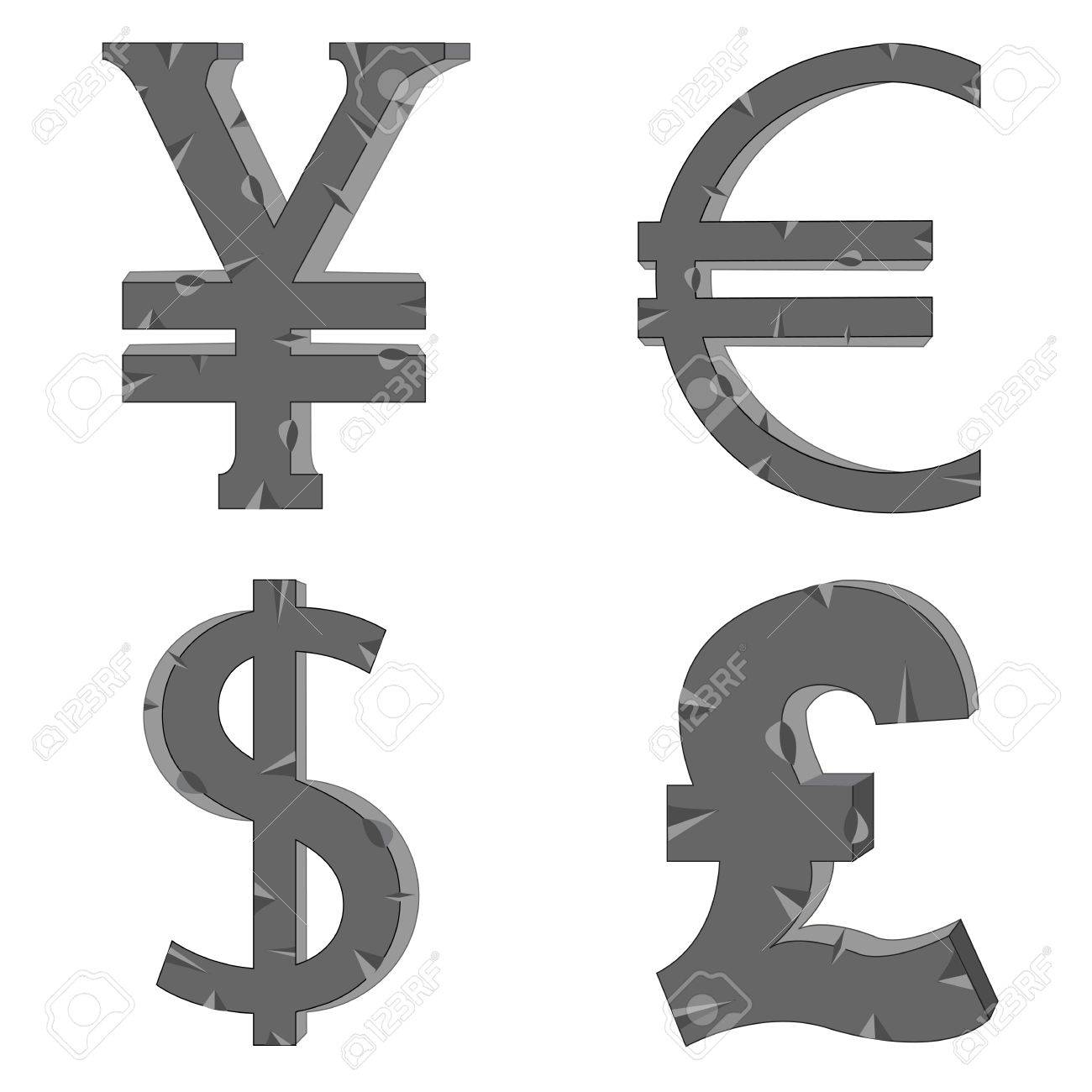 The Money Signs And Symbols Of The Different Countries Royalty Free