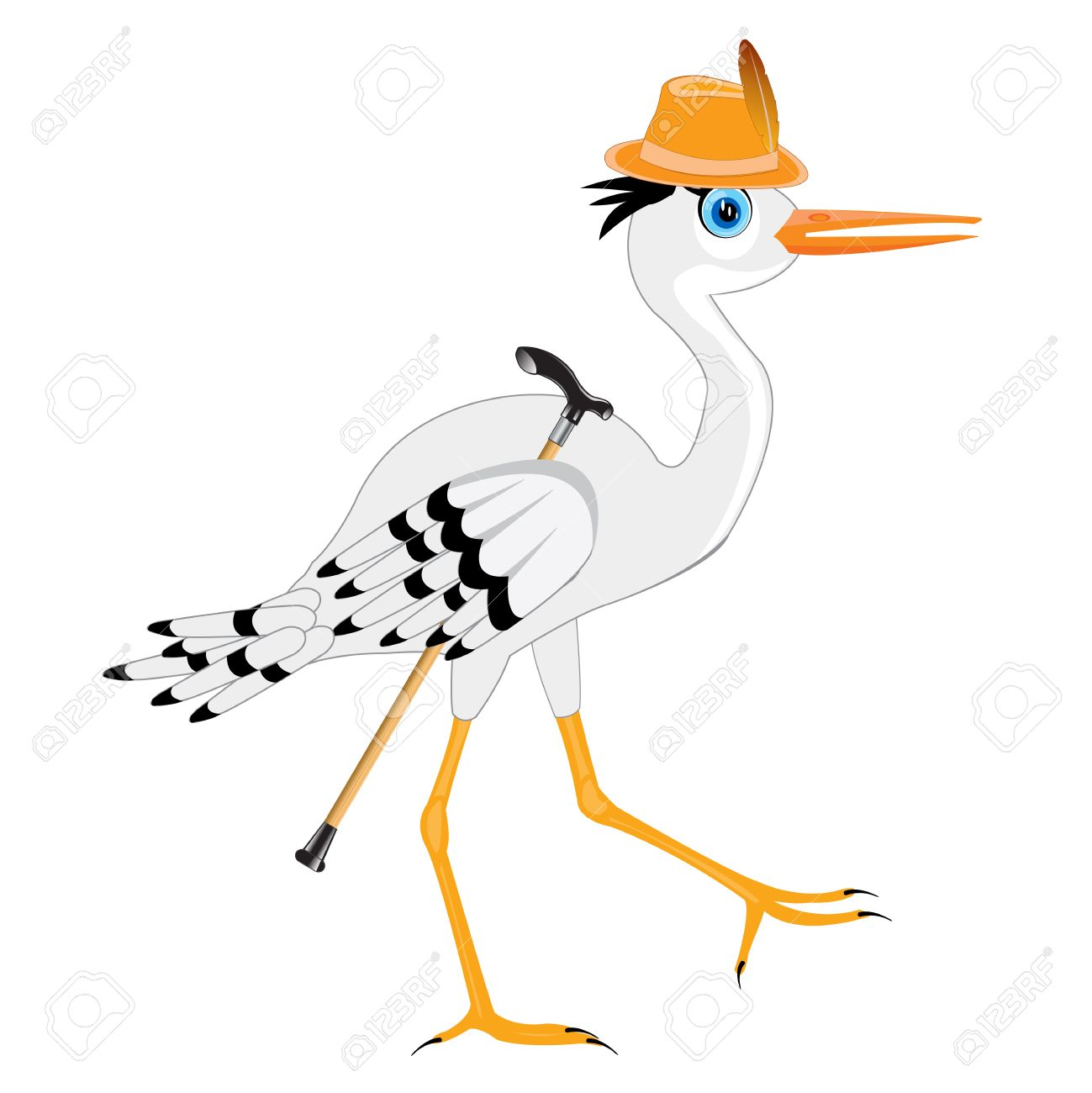 Cartoon of the bird stork in hat with walking stick Stock Vector - 43266533 a1ea1713aa01