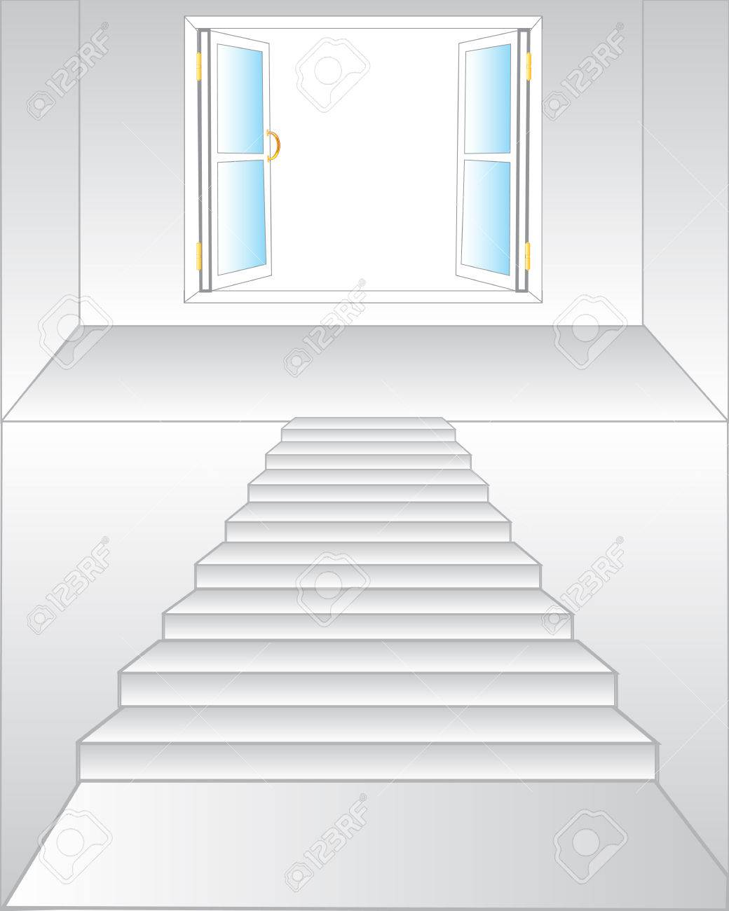 Stairway To Open Window On White Background Is Insulated Stock Vector    44188695