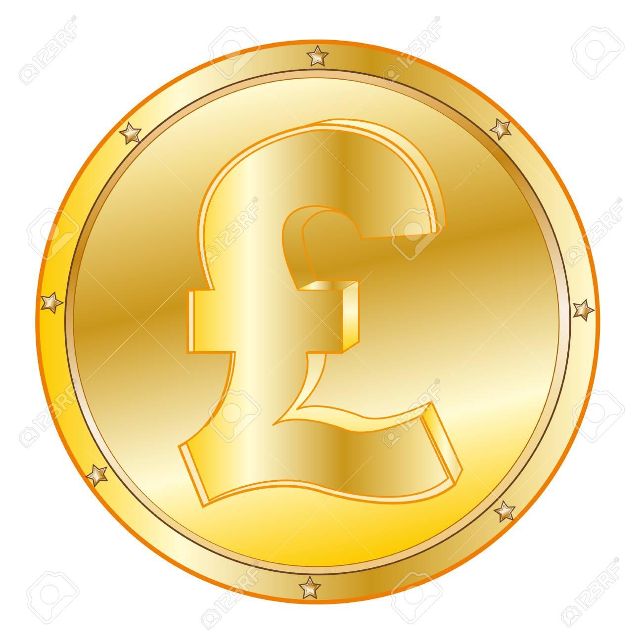 Runde Münze Aus Vergolden Auf Weißem Hintergrund Ist Isoliert