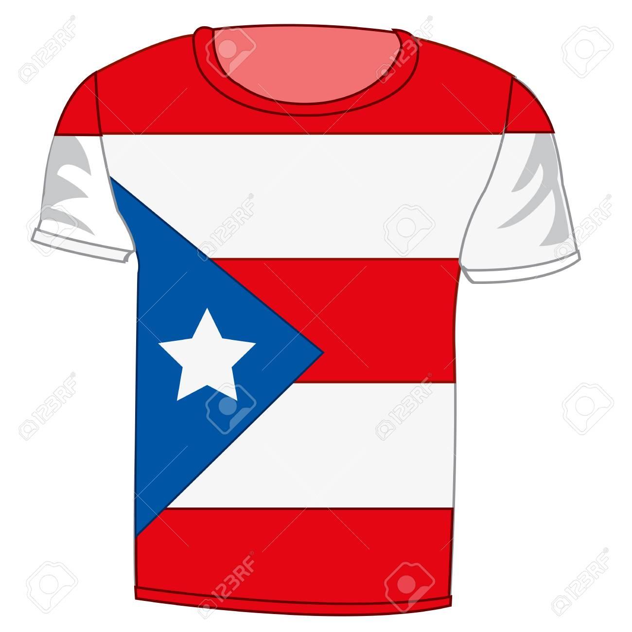 T Shirt Flag Puerto Rico Design Stock Vector