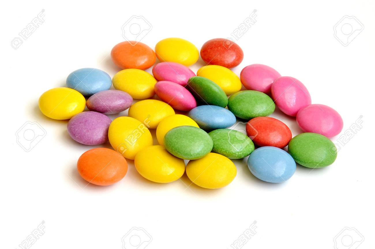 Pile Of Colored Smarties On White Background Stock Photo, Picture ...