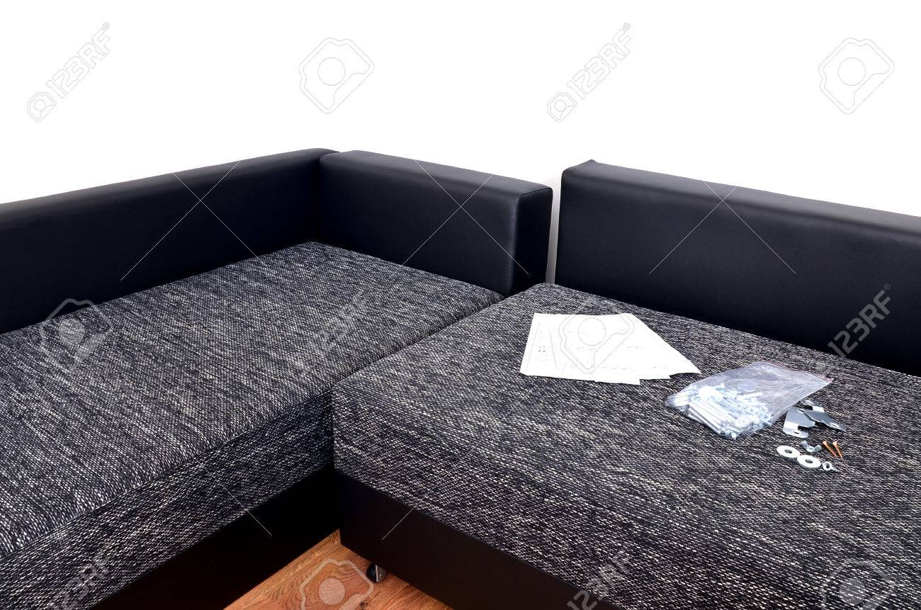 Modern Black And White Cloth Sofa Assembly Assembling Parts Stock