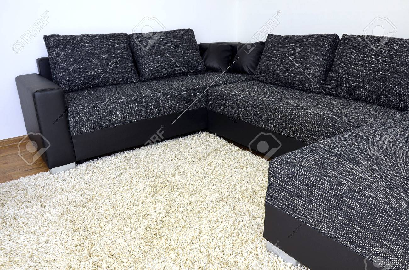 Modern Black And White Cloth Sofa With Black Leather And Pillows ...