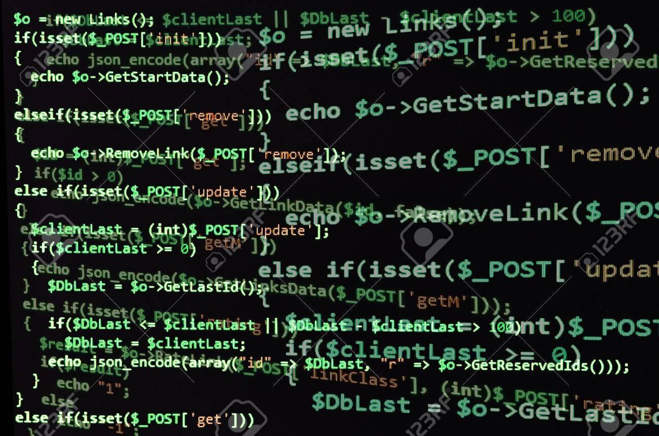 Programmiercode Auf Schwarzem Bildschirm Grünen Text
