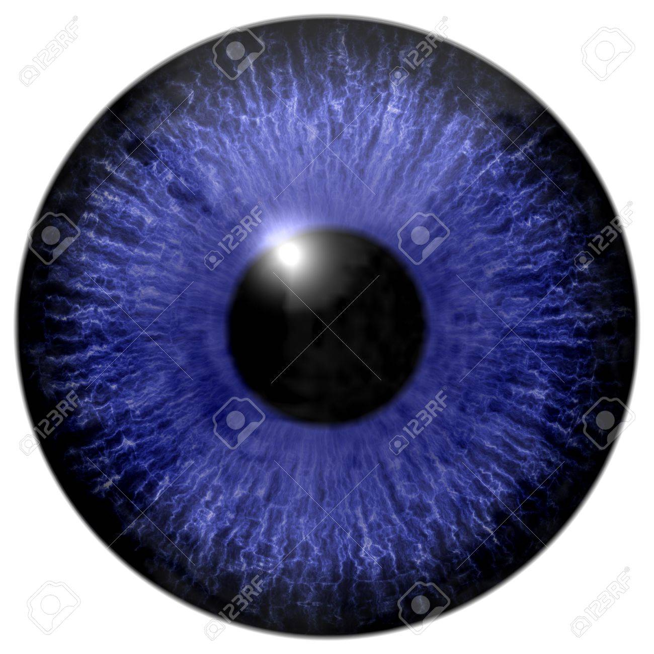 Detail of eye with blue colored iris white veins and black pupil stock photo