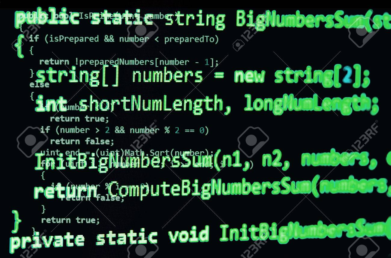Programming Code - Green Color, Written In C# Language Syntax ...
