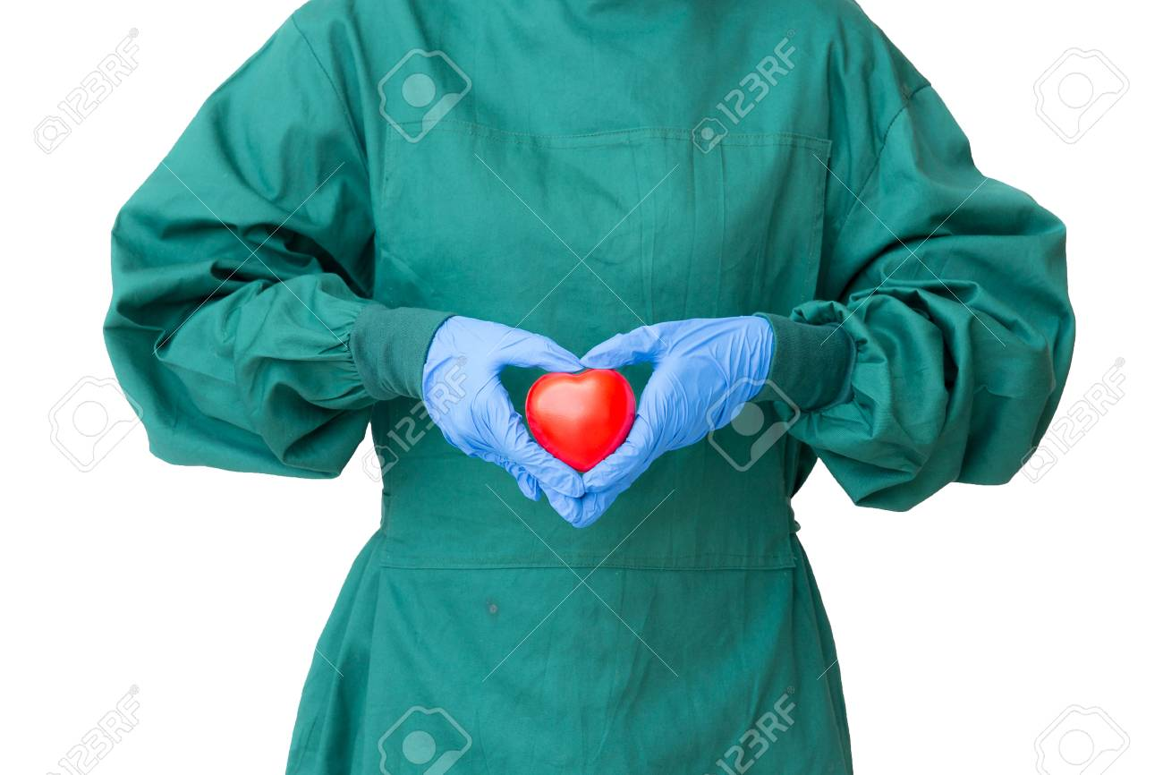 Take Care Concept, Surgeon Doctor In Green Gown Action To Protect ...