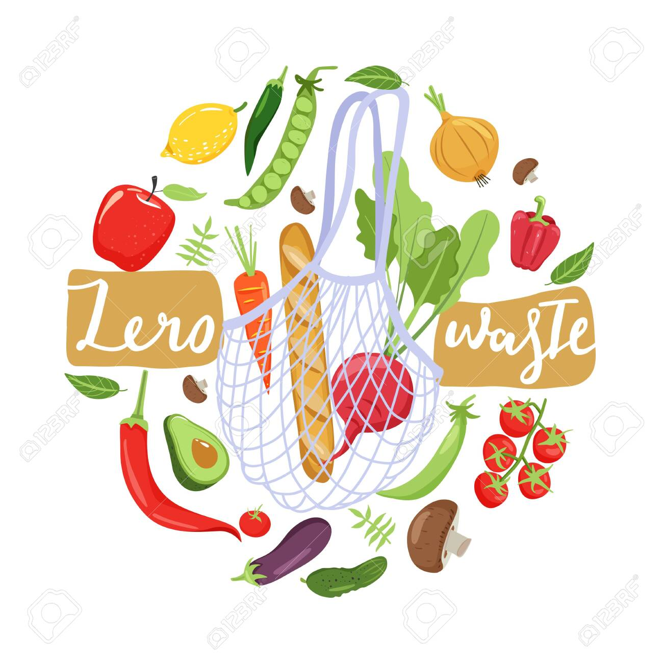 Zero waste concept. Eco bag with vegetables for eco friendly living. Circle shape composition. Vector illustration on white background. - 131671492