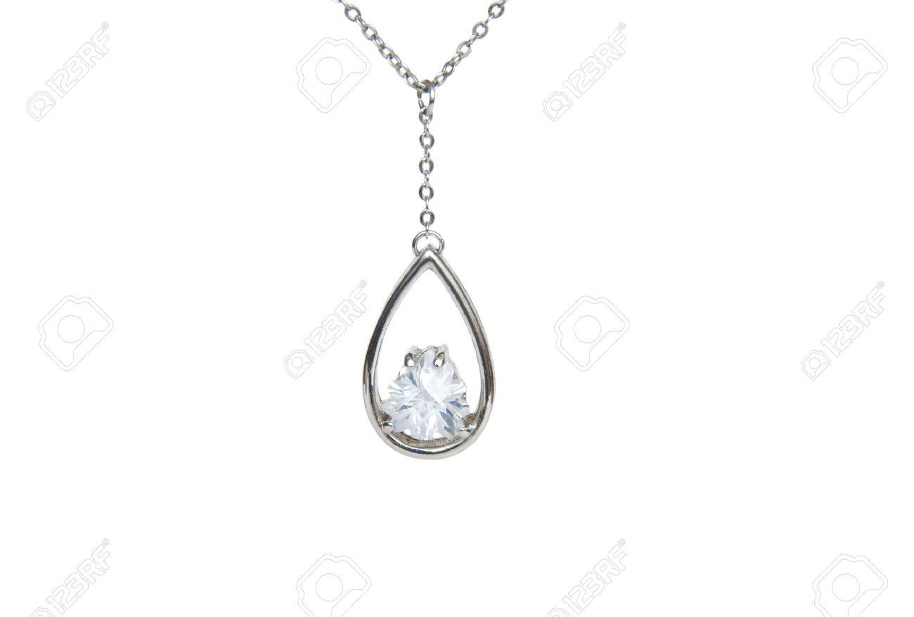 Silver necklace isolated on the white background Stock Photo - 10915742