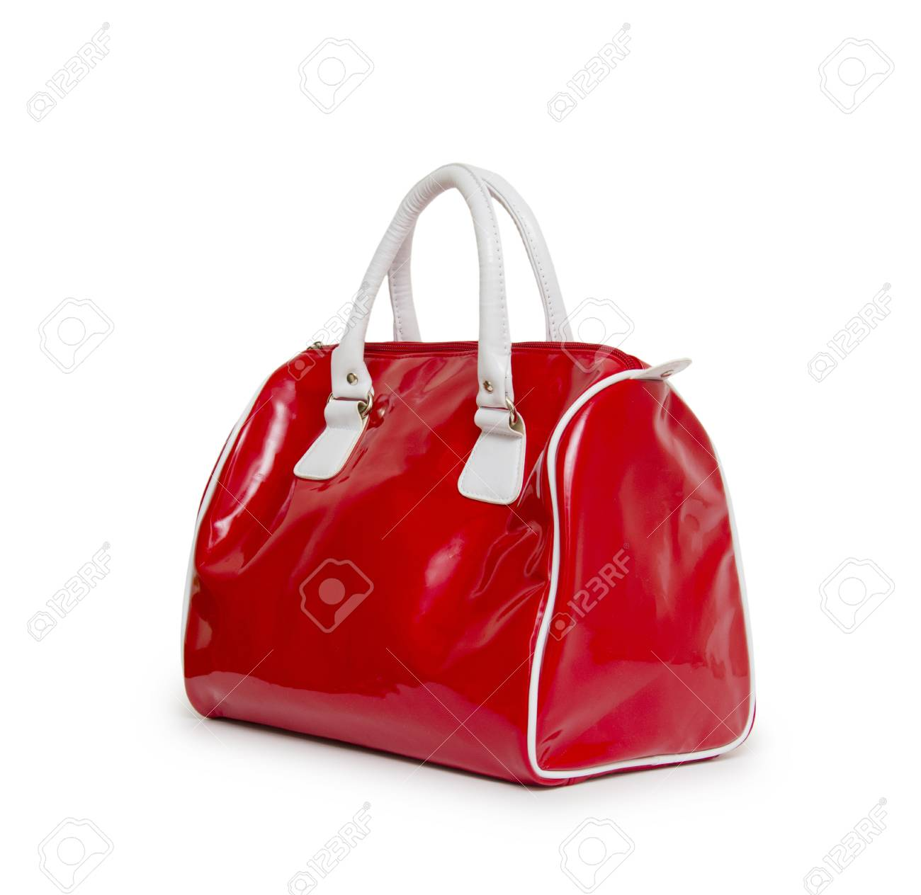 d001316d08405 Red women bag isolated on white background Stock Photo - 32902684