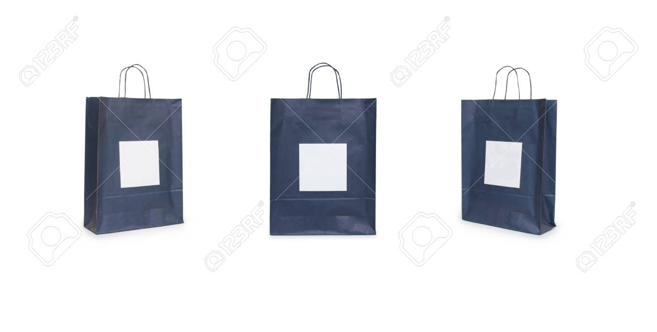 Black Paper Bags With Handles On A White Background Stock Photo