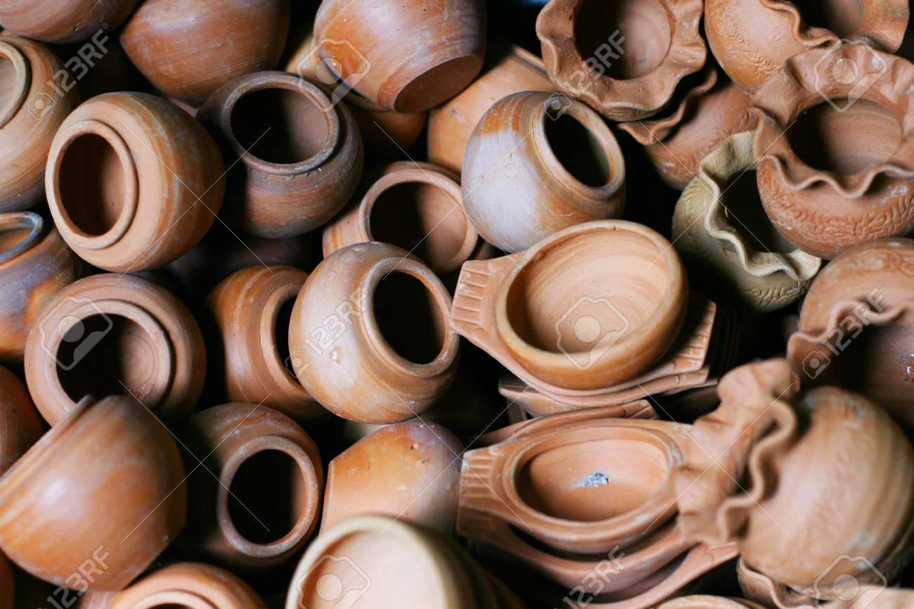 Rustic handmade ceramic clay brown terracotta cups souvenirs