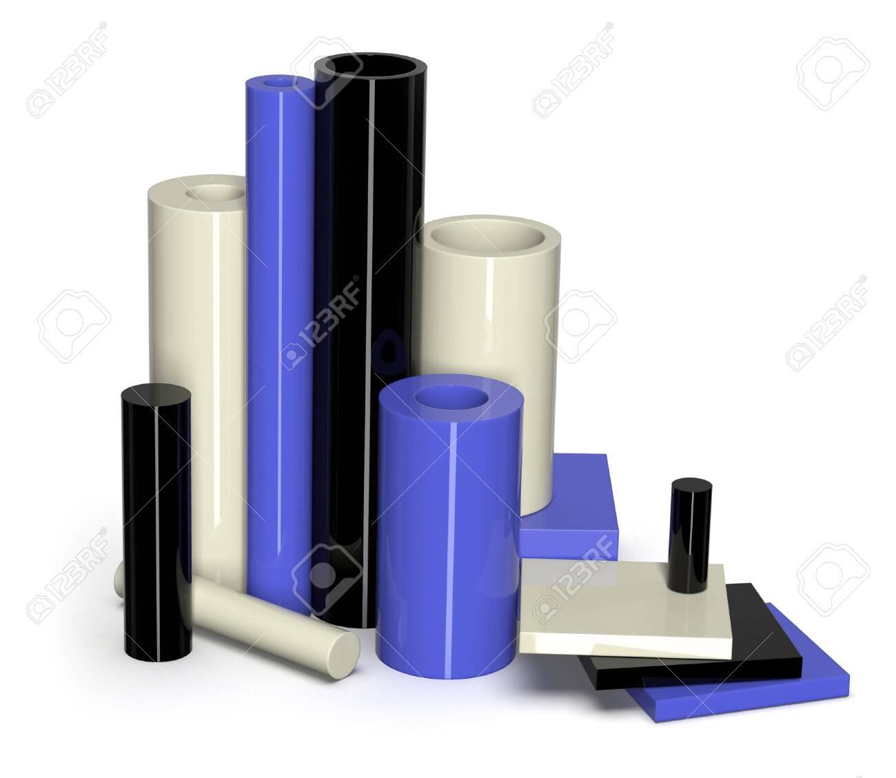 Cast nylon samples isolated on white - 122675260