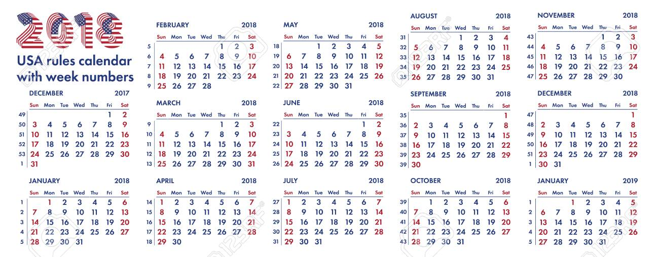 Calendario Con Week 2018.2018 Calendar Grid American Rules With Weeks Numbers Illustration