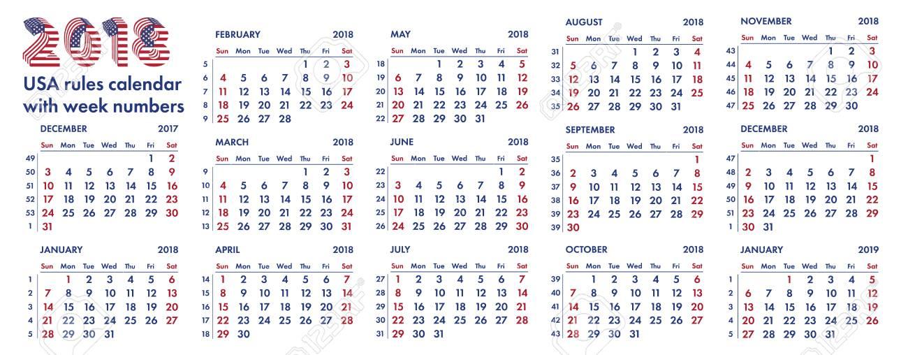Calendrier Pour Les Regles.Regles 2018 Calendrier Grille Americaine Avec Illustration De Numeros De Semaines Isole Sur Blanc Pour La Conception De Modeles Trimestriels Anglais