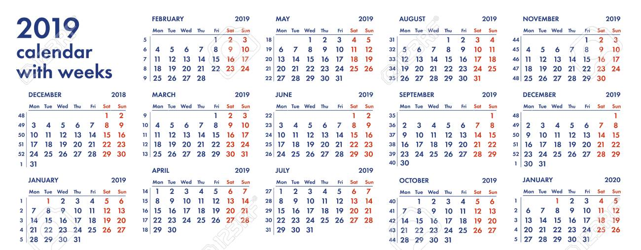 Calendar 2019 With Weeks 2019 Calendar Grid With Weeks And Numbers Vector Illustration