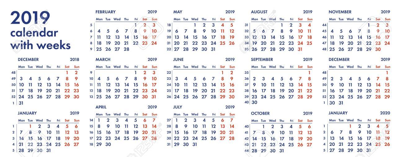 Calendario De Semanas.Rejilla Del Calendario 2019 Con Ilustracion Del Vector De Las Semanas Y De Los Numeros Aislada En El Fondo Blanco