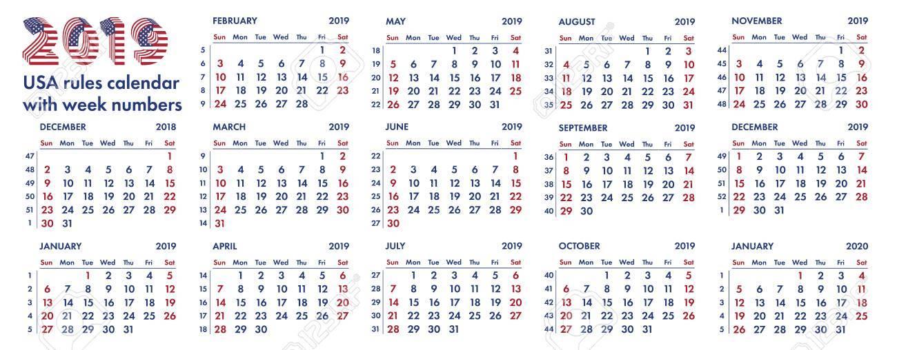 2019 Calendar With Weeks 2019 Calendar Grid American Rules With Weeks Numbers. Royalty Free