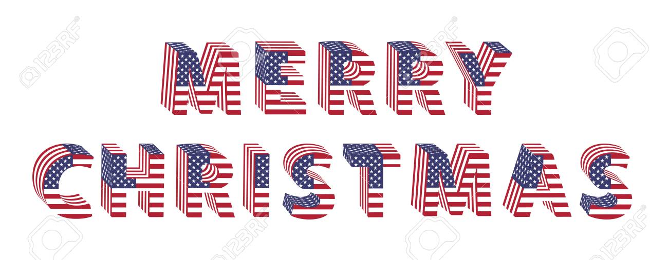 Merry Christmas text in 3d letters with American flag designs. Stock Vector - 90599986