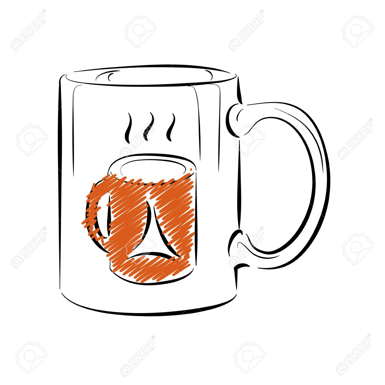 Coffee Mug Template In Outline Style Illustration. Royalty Free ...