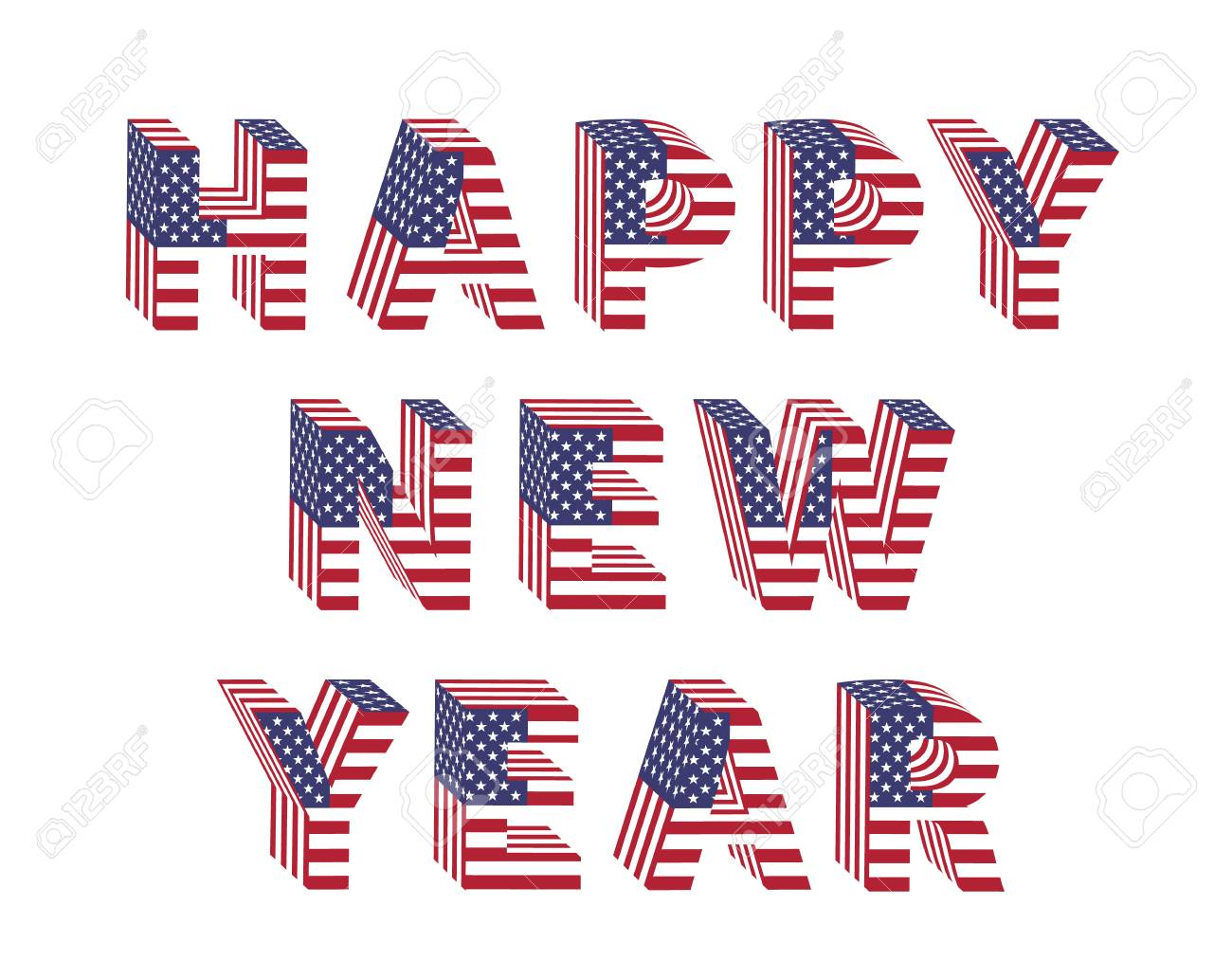 Happy New Year text in 3d letters with American flag designs. Stock Vector - 90600064